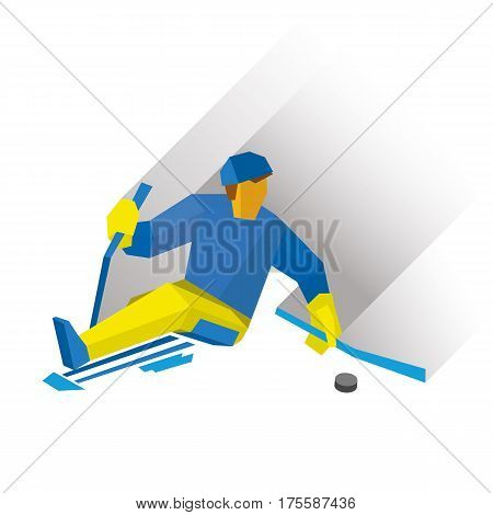 Disabled Sledge Hockey Player With Sticks On Ice