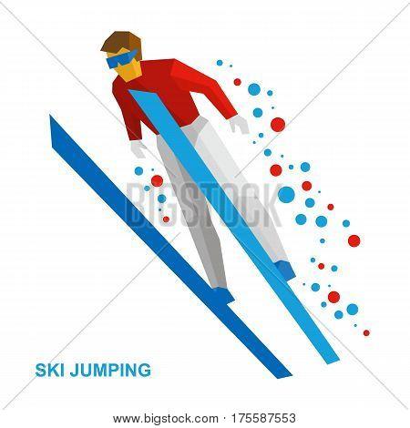 Winter Sports: Ski Jumping. Cartoon Skier During A Jump.
