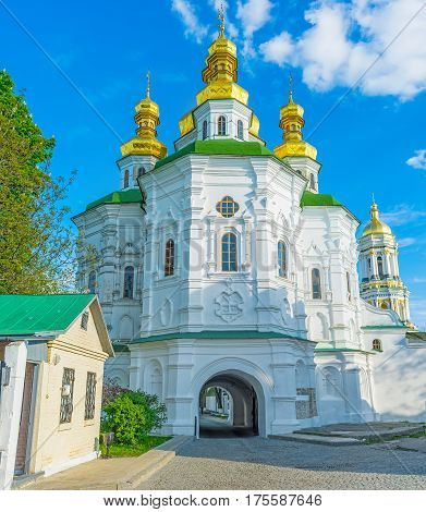 The All Saints Church with Economical Gates is a part of fortification complex of the Kiev Pechersk Lavra Ukraine