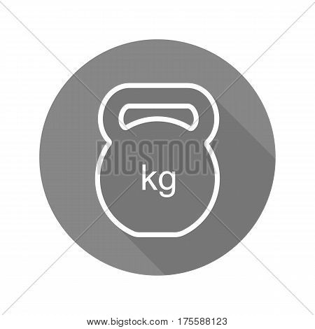 Gym kettlebell flat linear long shadow icon. Vector line symbol
