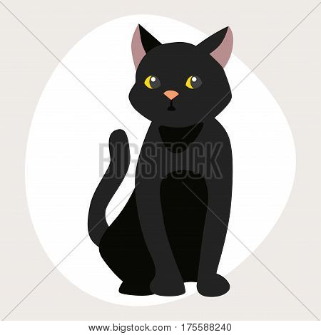 Cat breed cute black pet portrait fluffy young adorable cartoon animal and pretty fun play feline sitting mammal domestic kitty vector illustration. Beautiful posing playful paw design.