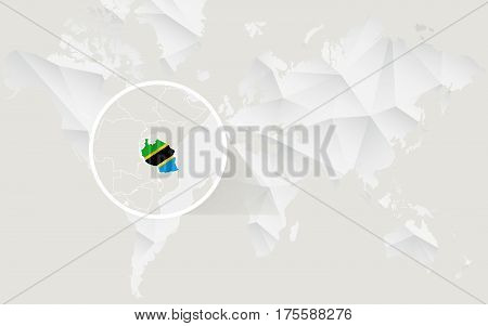 Tanzania Map With Flag In Contour On White Polygonal World Map.