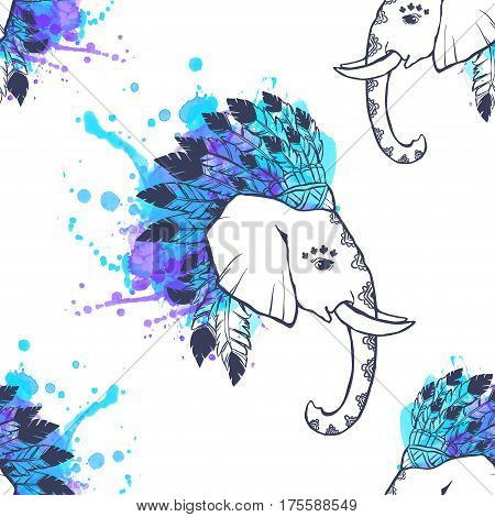 Pattern with Elephant watercolor. Frame of animal made in vector. Use for children clothes, pajamas