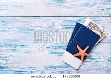Passports With Boarding Pass And Dollar Banknotes