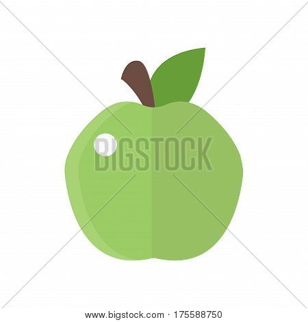 Fresh green apple badge vector illustration health isolated delicious freshness dessert and vitamin organic veget applarian food nutrition raw snack. Seasonal color bright nutritious.