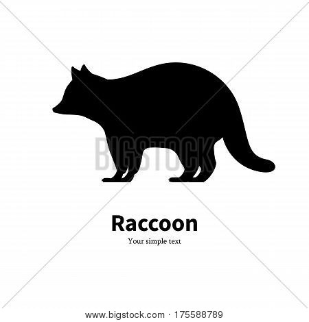 Vector illustration of a black raccoon silhouette. Isolated on white background. Side view, profile.