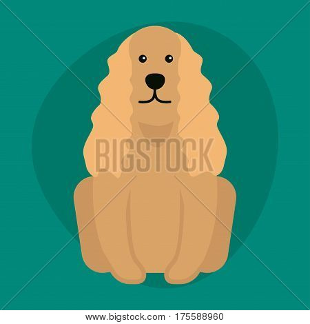 Funny cartoon dog character bread illustration in cartoon style happy puppy and cocker spaniel isolated friendly mammal vector illustration. Domestic element flat comic adorable mascot canine.