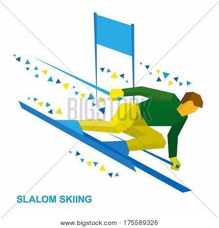 Winter Sports - Slalom Skiing. Sportsman Ski Slope Down.