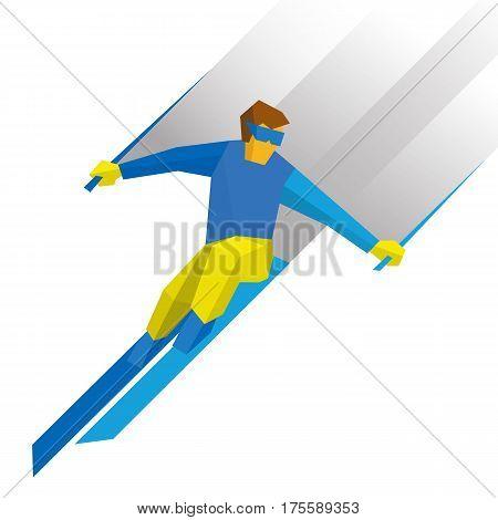 Winter Sports - Skiing. Cartoon Skier Running Downhill
