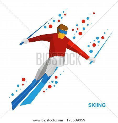 Skiing - Cartoon Skier Running Downhill