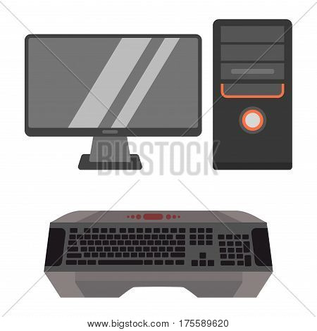Desktop computer vector internet work tool isolated display icon. Pc technology monitor screen communication modern hardware. Silver visual wireless network.