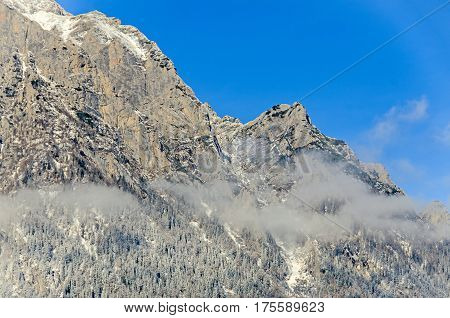 Carpathian Mountains, Bucegi Mountain Range, Clouds, Snow And Fog, Winter Time Landscape
