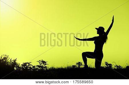 Happy healthy woman as enjoying life - silhouette