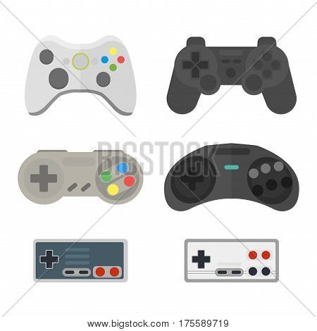 poster of Game console joystick computer wireless device vector illustration. Game console joystick electronic joy control video game technology isolated on white background.