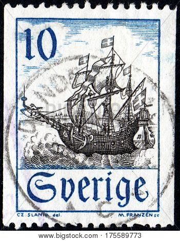 UKRAINE - CIRCA 2017: A stamp printed in SWEDEN shows an old Swedish sailing ship the series Subjects from Postal History and Nature circa 1967