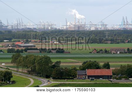 View Over Rotterdam Port And Chemical Industry