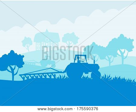 Tractor harvesting on a sunny day , vector illustration