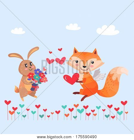 Bunny with bouquet of flowers and fox with angel wings holding red heart in paws on cartoon lawn. Romantic hare wishes you love. Lovely rabbit and sexy vixen with bushy tail. Valentines day vector