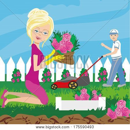 happy old woman garden work , vector illustration