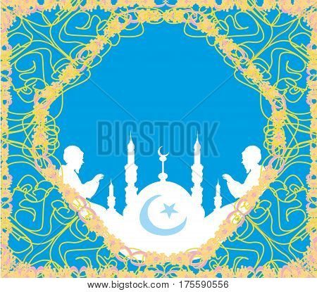 Abstract religious card - muslim man praying , vector illustration