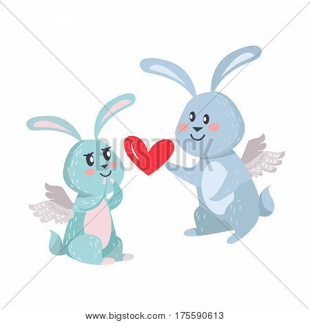 Bunnies boy and girl with angel wings isolated on white. Romantic hare couple, male rabbit gives his heart to his adorable woman. Valentines day concept vector illustration in flat cartoon style