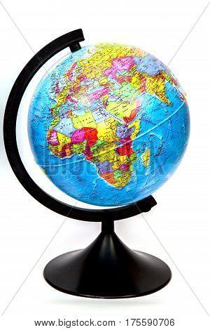 Globe isolated on white background, close up