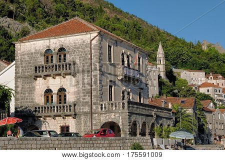 PERAST, MONTENEGRO - JULY 17, 2016: the Bujovic Palace, dating from 1694, has been lovingly preserved and converted into a museum showcasing the town's proud seafaring history