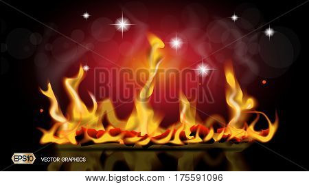 Digital Vector Abstract hot Fire flames Background. Ready for product placement and infographic, poster, banner, ads, print or magazine