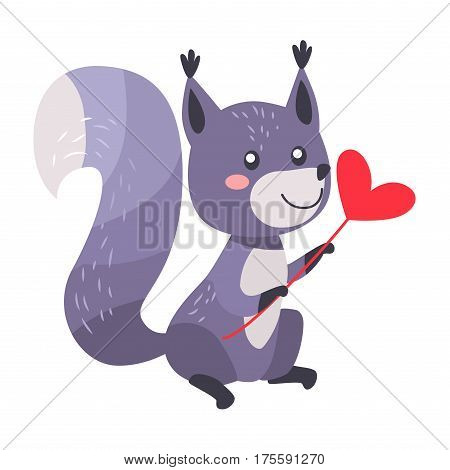 Grey squirrel with heart on stick isolated on white. Raccoon with greetings. Sexy squirrel with bushy tail. Cartoon animal post card design. Valentines day concept vector illustration in flat style