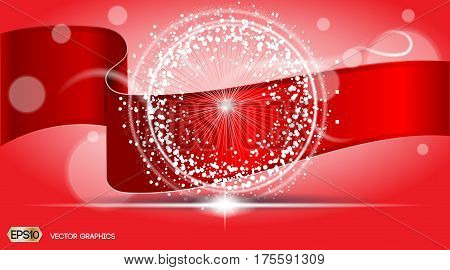 Digital Vector Abstract Red ribbon Background with sparkles and light waves. Ready for product placement and infographic, banner, poster, ads, print or magazine