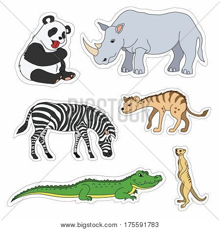 Set of various cute animals, stickers of safari animals. Panda, zebra, alligator, crocodile, gopher, rhinoceros, rhino, hyena. Vector illustration isolated on white.