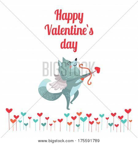 Happy Valentine s day. Wolf with wings with bow and arrows isolated on white. Timber wolf lover flying like Cupid. Cute cartoon animal post card design. Love concept vector illustration in flat style