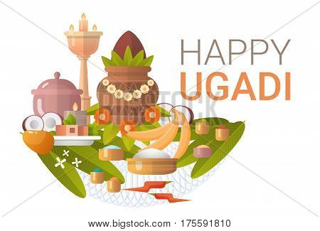 Happy Ugadi and Gudi Padwa Hindu New Year Greeting Card Holiday Flat Vector Illustration