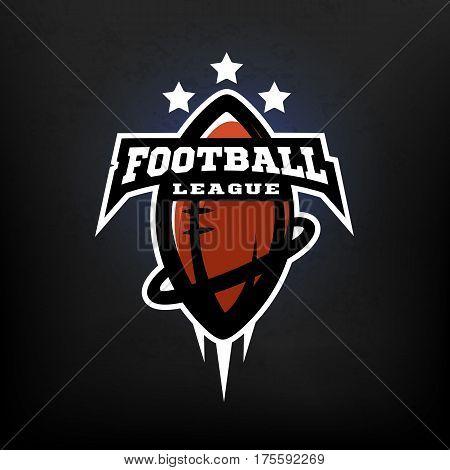 American football league logo.On dark background.  Vector illustration