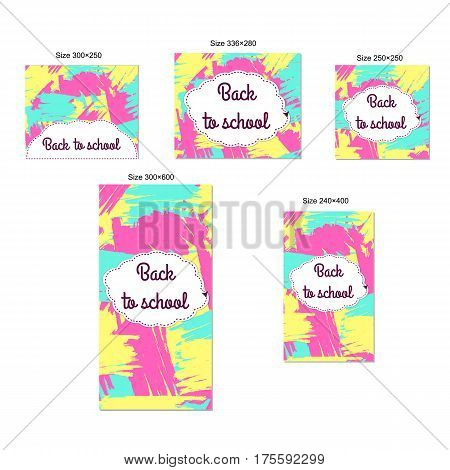 Web banners set - Back to school. Abstract creative background. Standart size.
