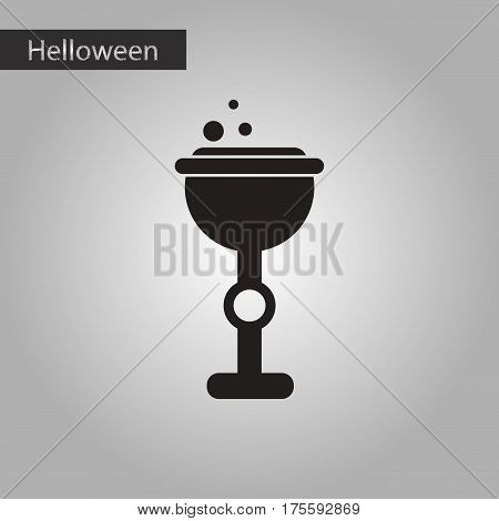 black and white style icon of halloween cup potion