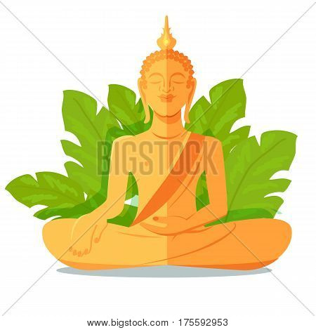 Buddha golden statue close up isolated against green big leaves on white background. Asian traditional Buddha statue in lotus posture sitting with one hand on leg and special element on head.