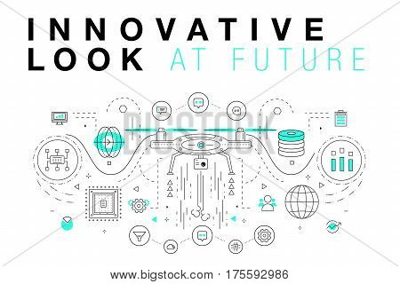 Trendy Innovation systems layouts in polygonal contour line composition, future analysis and technology operations. Made in awesome geometry style with linear pictogram of future for web design.
