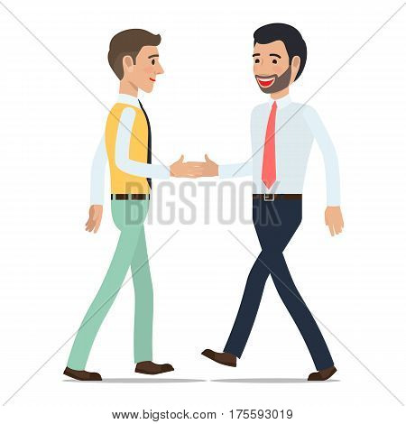Businessmen shaking hands at meeting. Two clerks in shirt and tie greet each other when met flat vector isolated on white background. Friendly greeting illustration for business concepts design