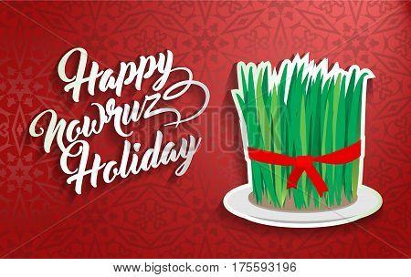Nowruz greeting. Novruz. Iranian new year greeting vector illustration.