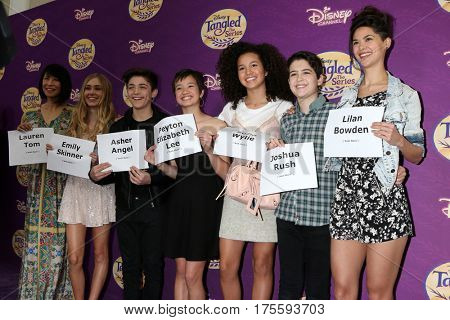 LOS ANGELES - MAR 4: Lauren Tom, Emily Skinner, Asher Angel, Peyton Elizabeth Lee, Sofia Wylie, Joshua Rush,Lilan Bowden at the