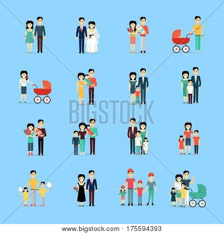 Married couple people life set on blue background. Dating pair, wedding day, couple with newborns, family spending time together with cotton candy, gradual process of children growing up vector poster