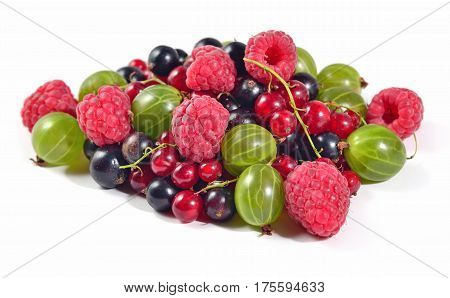 Heap Of Various Kinds Of Fresh Berries On A White