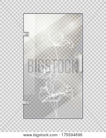 Glassy entrance door with flower wavy white lines and doorhandle on transparent checkered background. Vector illustration of isolated transparent glass door with decorative elements in flat design.