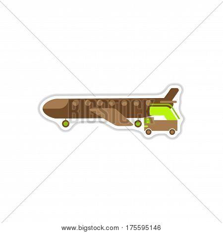 paper sticker on white background airplane gangway
