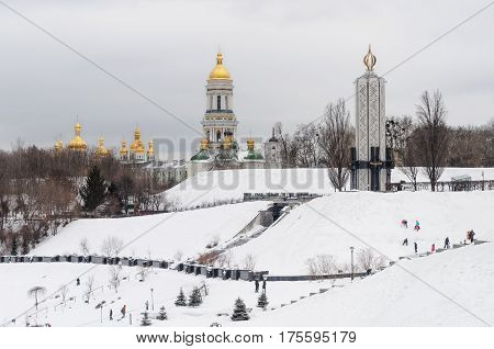 Winter view of Kiev-Pechersk Lavra and National Museum
