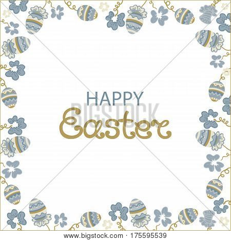 Happy easter. A poster with flowers and paschal eggs.