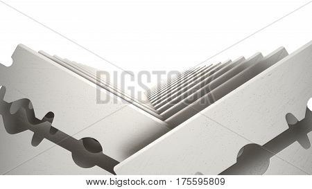 Metal Razor Blade Set Isolated on White Background. 3d render