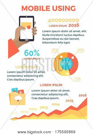 Mobile using poster with hand holding smartphone, round diagram with percents, some text information, saving folder and chart showing greater usage of phones nowadays vector colourful illustration