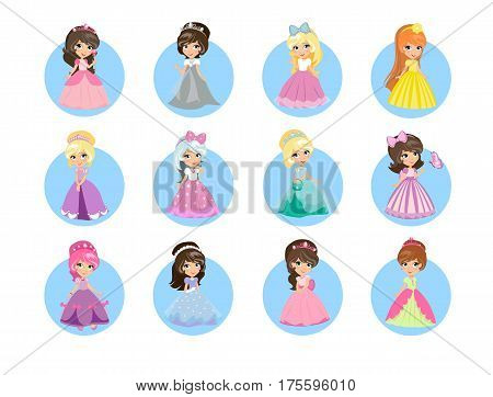Beautiful cartoon princesses icons set. Cute little girls with diadems on hair and long evening gown isolated flat vectors. Fairytale girls in gorgeous dresses illustrations for kids greeting cards